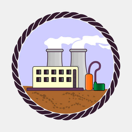 Factory icon. Flat design style vector illustration