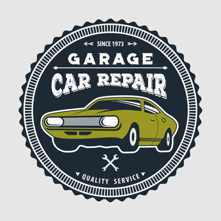Car repair service, vintage Logo design concept with classic retro car.