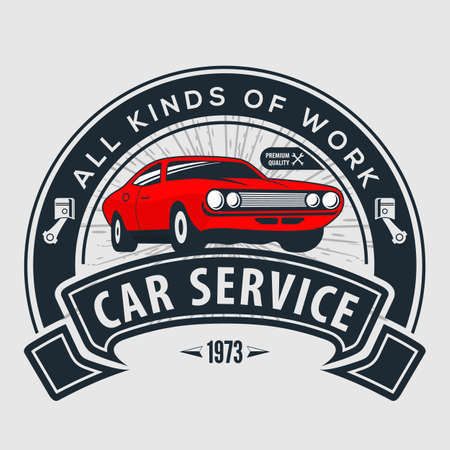 Car repair service, vintage design concept with classic retro car. Vector illustration