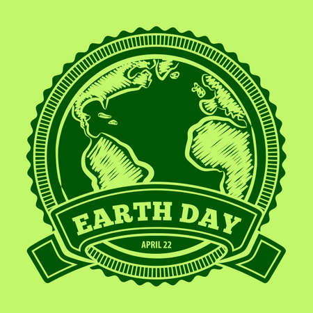 Earth Day poster, banner, label, badge or greeting card. Vector illustration