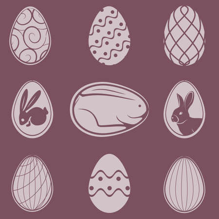 Easter eggs icons set isolated. Vector illustration