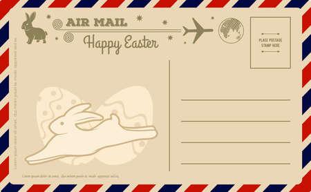 Happy Easter vintage postcard design template. Vector illustration Vektorgrafik