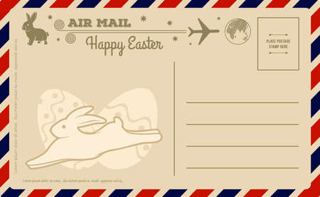 Happy Easter vintage postcard design template. Vector illustration