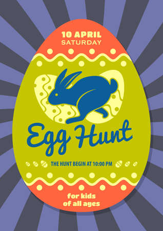 Easter Egg Hunt poster design template. Vector illustration 向量圖像