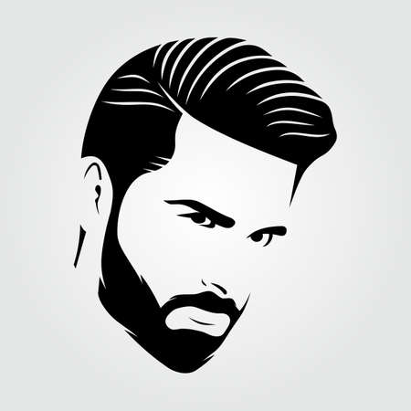 Bearded men, hipster face icon isolated. Vector illustration
