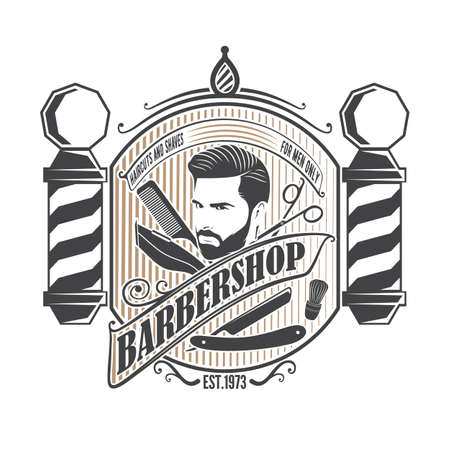 Barbershop, poster or banner design concept with barber pole and bearded men. Vector illustration