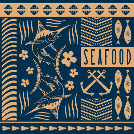 Seafood design concept with Marlin fish. Vector illustration