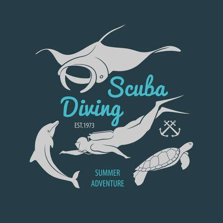 Scuba Diving Club Emblem or design template