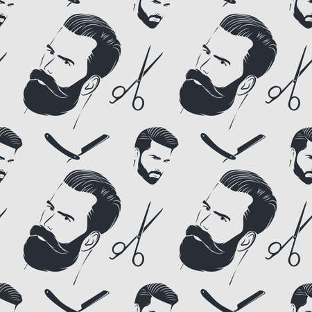 Barber shop seamless pattern with hipster face
