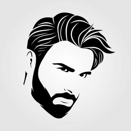 Bearded men, hipster face icon isolated. Vector