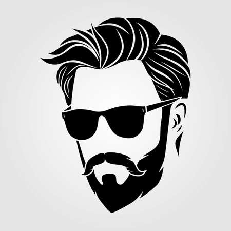 Bearded men in sunglasses, hipster face icon