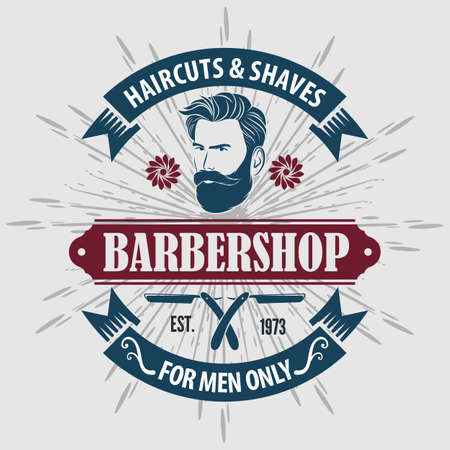 Barber shop poster template with Bearded men