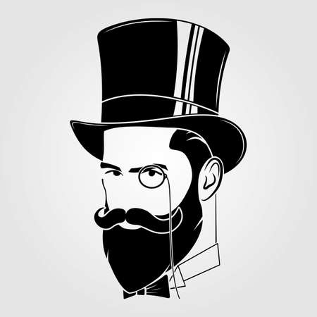 Gentleman with beard and mustache in a top hat Illustration
