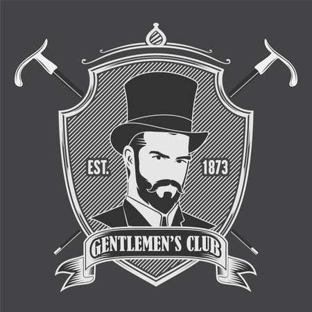 Gentleman Club Label Design template Vintage style