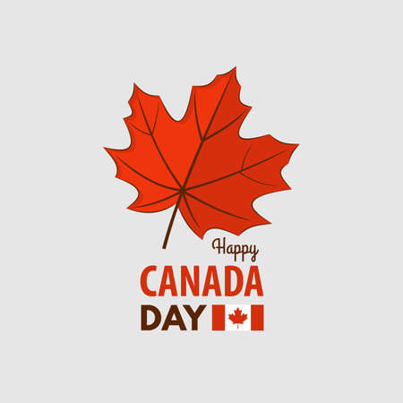 Happy Canada Day greeting card design concept. Illustration