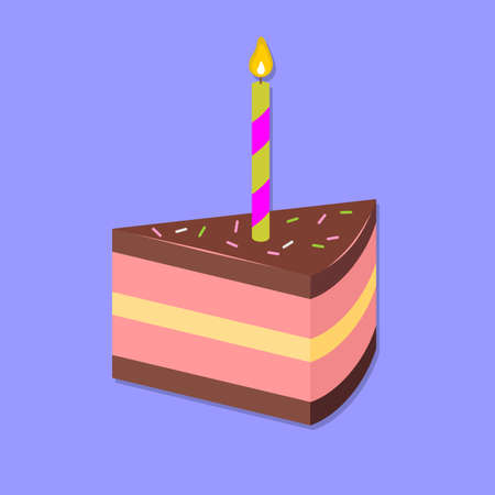 Slice of cake isolated. Flat style vector .
