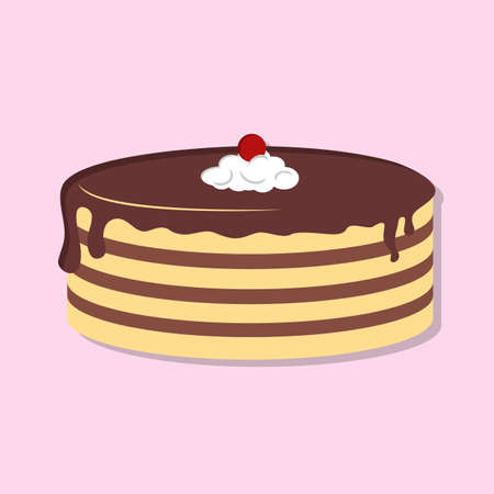 Cake isolated icon. Flat style vector illustration
