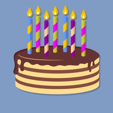 Happy Birthday cake icon isolated. Flat style