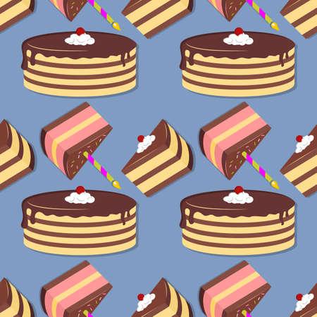 Cake seamless pattern. Flat style vector illustration Illustration