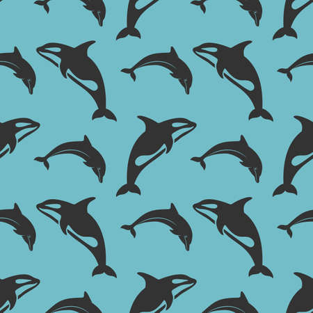 World Whale and Dolphin Day seamless pattern