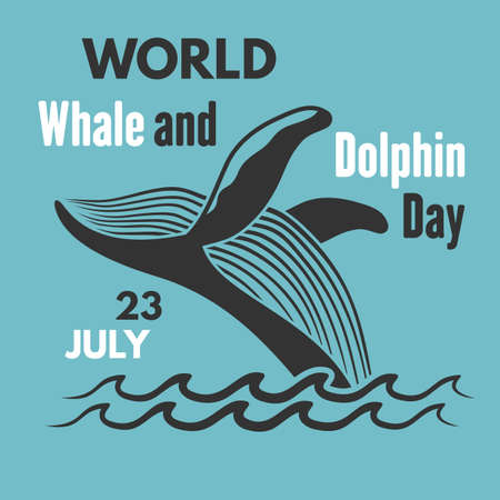 World Whale and Dolphin Day poster. Vector