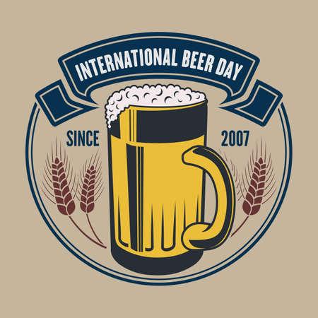 International Beer Day poster or banner template Illustration