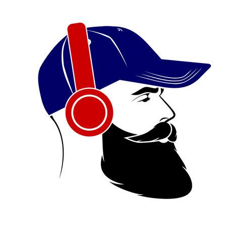 Men in a baseball cap and wireless headphones