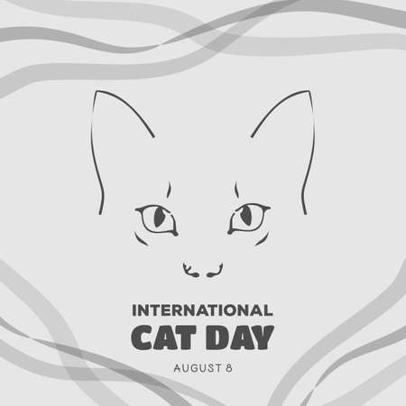 International Cat Day poster or banner design. Illustration