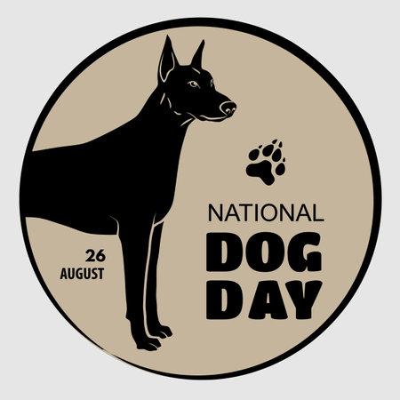 National Dog Day poster or banner design template Illustration