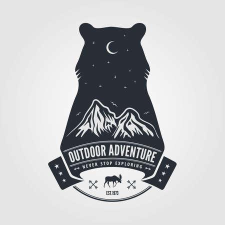 Outdoor Adventure vintage label or badge template Иллюстрация