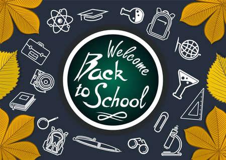 Back to School poster or banner design template. Иллюстрация