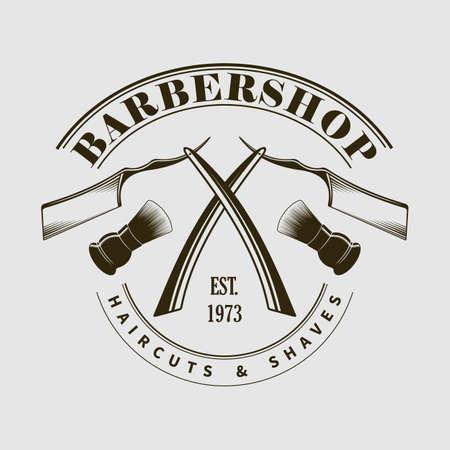 Barbershop poster Straight razor and Shaving brush