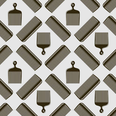 Barber shop background, seamless pattern with comb