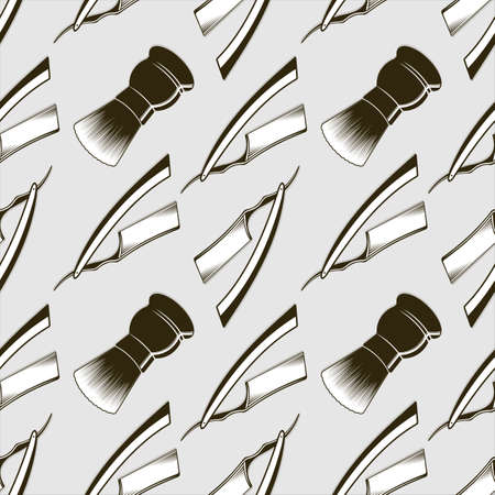 Barber shop seamless pattern with straight razor