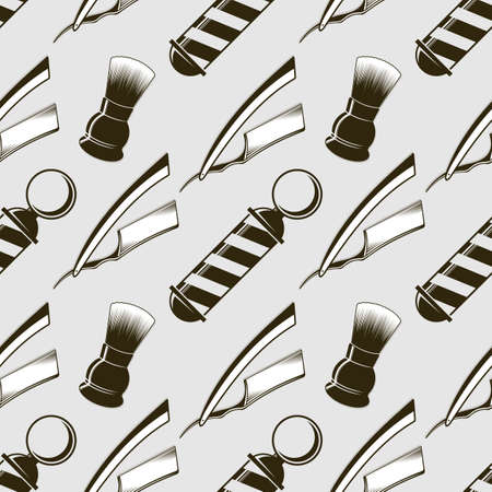 Barber shop seamless pattern with Barber pole