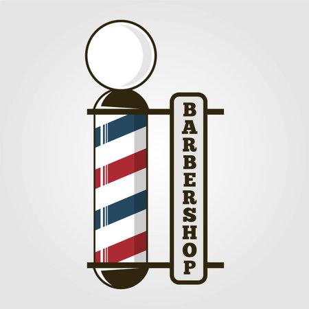 Barber Sign with old fashioned vintage Barber pole