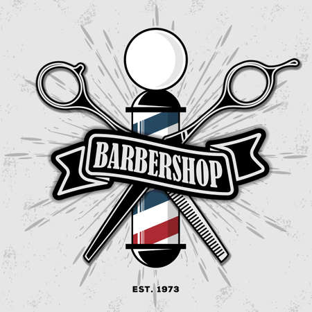 Barber shop poster template with barber pole