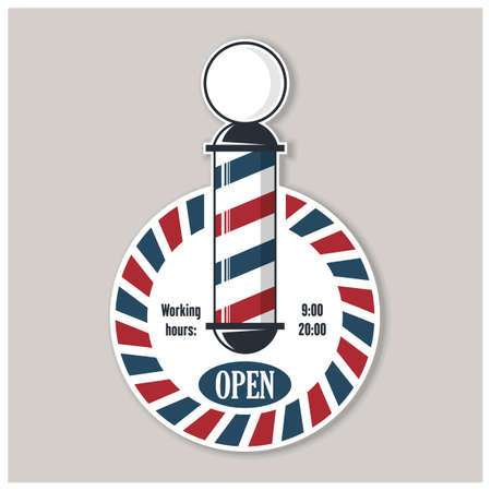 Barbershop Open sign with barber pole. Vector