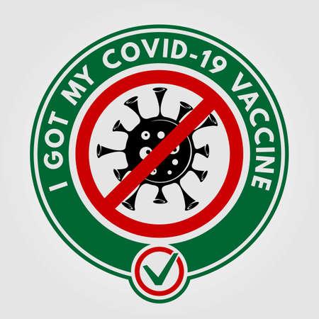 I got my covid-19 vaccine Label template. Vector