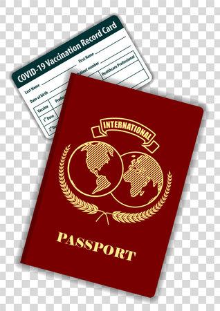 International Passport and Covid Vaccination card Иллюстрация