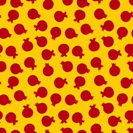 Pomegranate seamless pattern. Flat style vector illustration