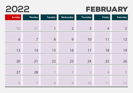 February of 2022 calendar or planner design Vector Иллюстрация