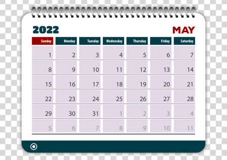 May of 2022 calendar or planner design. Vector Иллюстрация