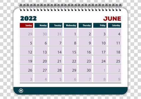 June of 2022 calendar or planner design. Vector