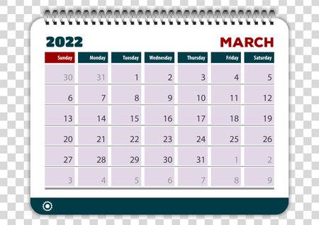 March of 2022 calendar or planner design. Vector