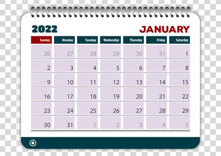 January of 2022 calendar or planner design. Vector
