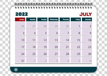 July of 2022 calendar or planner design. Vector Иллюстрация