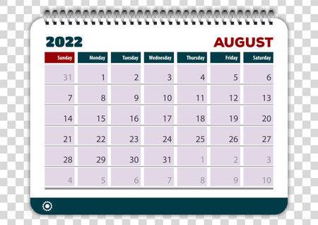 August of 2022 calendar or planner design. Vector