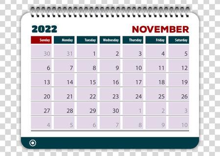 November of 2022 calendar or planner design Vector