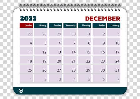 December of 2022 calendar or planner design Vector